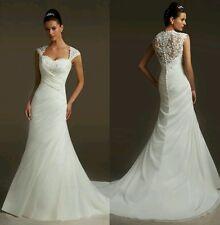 White/ivory Cap sleeves Mermaid Bridal Wedding Dress Size 6_ 18 UK