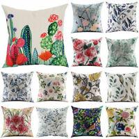 "18"" Vintage Flower Cotton Linen Throw Pillow Case Sofa Cushion Cover Home Decor"