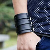 Men Adjustable Punk Wide Genuine Leather Belt Wristband Cuff Bracelet Fashion