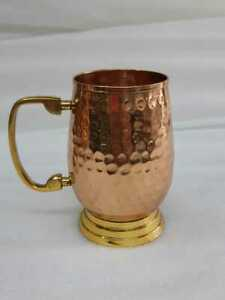 Moscow Mule Copper Beer Wine Mugs Handmade Hammred With Brass Handle For Gifting
