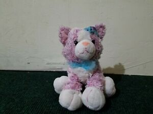 Pink Plush Cat with Blue Feather Boa and Flower Animal Alley