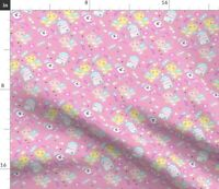 Pink Digital Teddy Bear Medical Nurse Needles Spoonflower Fabric by the Yard