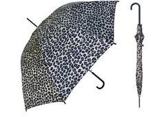 "Ladies Animal Print Leopard Brown TAN Fashion Stick Umbrella Auto Open 46"" Arc"