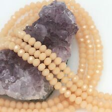 100 pcs 6mm Chinese Crystal Glass Loose Beads Faceted Apricot Agate