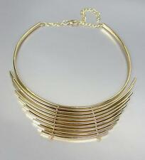 CHIC & UNIQUE Graduated Gold Metal Curved Bars Collar Choker Necklace