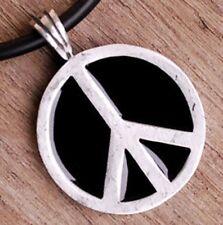 PEACE SIGN SYMBOL 70's Disco Hippie Pewter Pendant Charm Amulet Fashion Jewelry