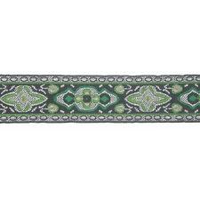 "Jacquard Ribbon 1 1/8"" Black Green & Grey Renaissance 10 Yards"