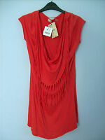 Top Ladies Tassled Top In Orangey Red by Bershka Size Medium Brand New With Tags