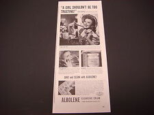 "1943 Albolene Cleansing Cream Print Ad,WWII,""Save and Clean with Abolene"""