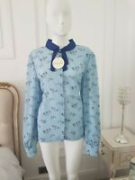 Mima Snowey Bird Vintage Inspired Snow Lindy Bop BLOUSE  1940s tie neck  size 18