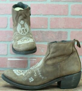 Liberty Black Cowgirl Boots Design EMBROIDERY Ankle BOOTS Hippie BOHO Brown 7 M