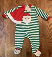 NWT Carters Just One You Unisex Baby Christmas Santa Footed Sleeper & Hat Sz 3m