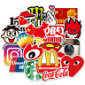 100 Stickers Vinyl Skateboard Guitar Travel Case Pack Tide Brand Logo Decals