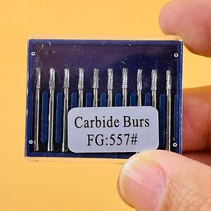 10Pcs Dental Tungsten Steel Carbide Burs FG557 1.6mm For High Speed Handpiece