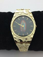 "New Solid 10K Yellow Gold 8"" Nugget Style Geneve Guadalupe Watch with Diamond"
