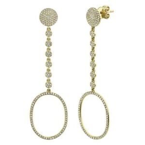 """Diamond Oval Drop Earrings 14k Yellow Gold Natural Pave Circle 0.81ct 2.3"""" Long"""