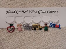 """""""SCHOOL TEACHER""""  SET OF 6  HAND CRAFTED Wine glass drink marker Charms"""