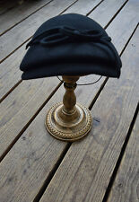 Vintage Women's Black Wool Mushroom Fancy Hat with Bow and Chin Band One Size