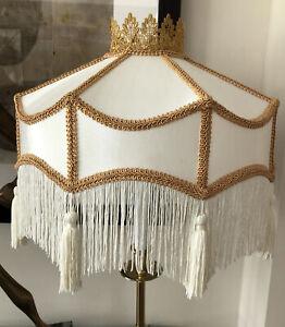 2 Victorian Downton Abbey Traditional Deco White Satin Fringe Tassel Lampshades