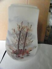 ANTIQUE UNUSUAL STYLE PAINTED LANDSCAPE FROSTED GLASS LAMP SHADE  (3105)
