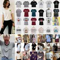 Womens Loose Summer Short Sleeve Tops Shirt Casual Tee T-Shirt Blouse UK 6 - 18