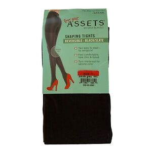 Spanx Assets Size 1 Reversible Shaping Tights Black / Slate 95-125 lbs NEW 1602