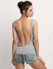 Women Summer Vest Tops Sleeveless Shirt Blouse Casual Tank Top T-Shirt Backless