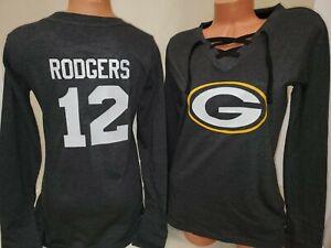 1119 Womens Green Bay Packers AARON RODGERS Football Long Sleeve SHIRT Black New