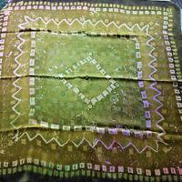 "Vintage Silk Hand Rolled Scarf Tie Dye Spattered Mod Greens/Pinks 34"" x 34"""