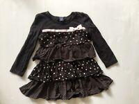 BABY GAP Kids Girls Black Long Sleeve Tiered Dress Pink Polka Dots - 3 Years