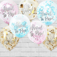 """Ginger Ray Baby Shower Gender Reveal Confetti Balloons Party Decoration 12"""" PK 5"""
