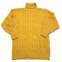 GAP Vintage Womens Tunic Cable Knit Sweater Yellow Medium Thick Heavy Turtleneck