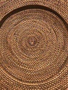Classic Round Wicker Rattan Plate Chargers, 14 Inches