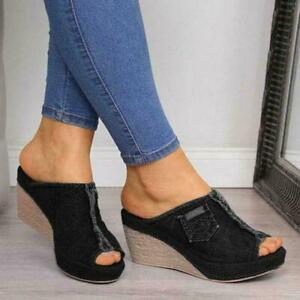 Womens Espadrilles Wedge Mules Sandals Cowboy Slippers High Heels Shoes Slip On