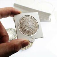 25 Etuis Carton Autocollants Blancs pour pièces de 5 Francs Argent 37 millimètre