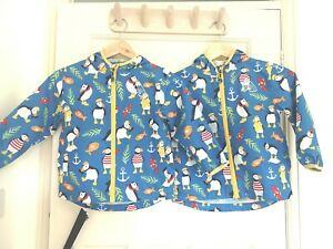 Frugi Organic Blue Puffin Puddle Buster Rain Packaway Jacket Age 4-5 Yrs TWINS