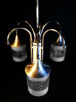 Vintage mid-century modernist Danish designer 3 arm Aluminium Opaline chandelier