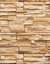 Wallpaper Heavy Textured Vinyl Faux Stacked Stone Rock Look Rust Brown Tan