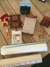 Dolls House furniture and wallpaper and carpet job lot