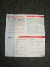 Sega CDX Registration Card ONLY