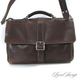 WORKHORSE Coach Chocolate Brown Leather Flap Messenger Commuter Carryall Bag NR