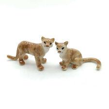 2 Puma Ceramic Figurine Wild Animal Statue - CWT027