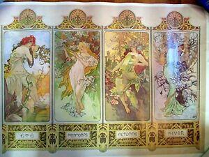 The Four Seasons by Alfons Mucha VINTAGE FINE ART POSTER 1975 Litho Art Nouveau