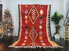 """Moroccan Vintage Boujaad Handmade Rug 5'5""""x8'4"""" Geometric Red Berber Wool Rug"""