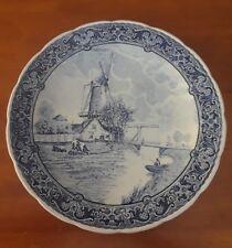 """Antique Delfts Blue Boch Belgium Porcelain 12"""" Plate Landscape Dutch Windmill"""