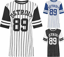 Womens Plus Detroit 89 Baseball Top Ladies Striped Print Baggy Oversized T-Shirt