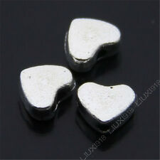 50pc Retro Tibetan Silver Small Heart-shaped Spacer Beads DIY Findings N477P