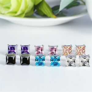 5mm 7mm Silver Stud Fashion Earrings For Men Women Gift Crystal Diamond Square