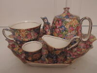 Vintage Royal Winton Chintz Joyce-Lynn Breakfast Set Teapot Tea for One 1950's