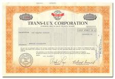 Trans-Lux Corporation Stock Certificate - Scoreboards, Tickers